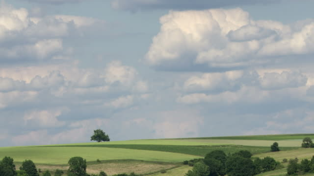 Clouds above farmland time lapse