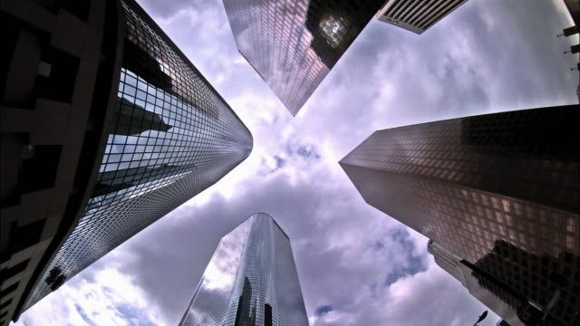 T/L, MS, LA clouds above office buildings, Los Angeles, California, USA