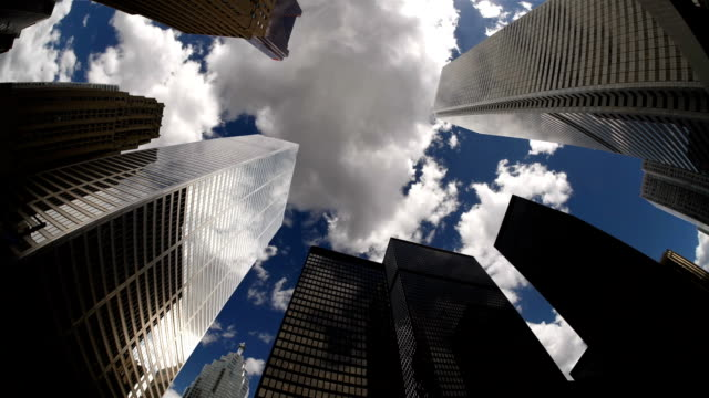 t/l, ms, la, clouds above skyscrapers, toronto, ontario, canada - toronto stock videos & royalty-free footage
