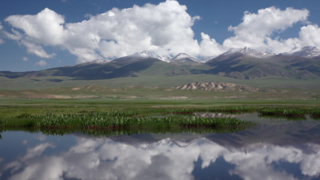 Clouds and Bayan Har mountains reflected in lake, China
