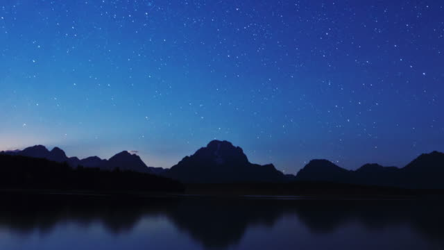 clouds and stars appear to streak across the sky above grand  teton national park, wyoming. - grand teton bildbanksvideor och videomaterial från bakom kulisserna