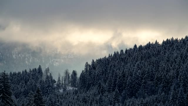 clouds are moving in front of karwendel mountains on morning in winter, gerold, garmisch-partenkirchen upper bavaria, bavaria, germany, european alps - garmisch partenkirchen stock videos and b-roll footage
