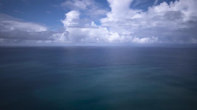 tl clouds billow and drift over atlantic ocean, azores - atlantikinseln stock-videos und b-roll-filmmaterial