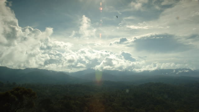 Clouds billow over a vast rainforest in Borneo. Available in HD.