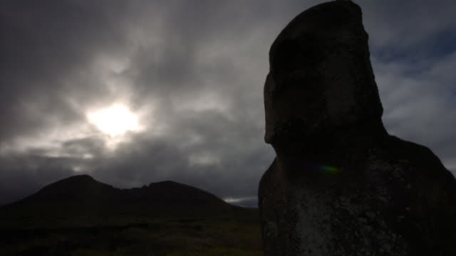 clouds billow over an easter island statue. available in hd. - monument stock videos & royalty-free footage