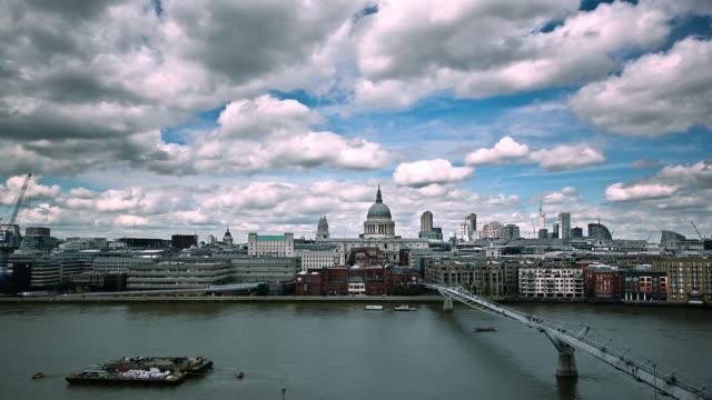 Clouds drift above London.