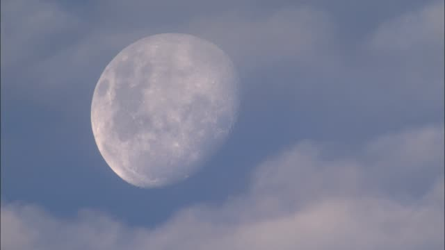 clouds drift in front of a gibbous moon. - luna video stock e b–roll