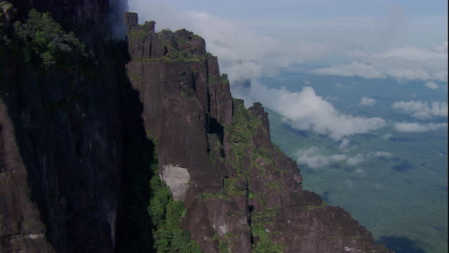 Clouds drift past steep rock formations on tabletop mountains. Available in HD.
