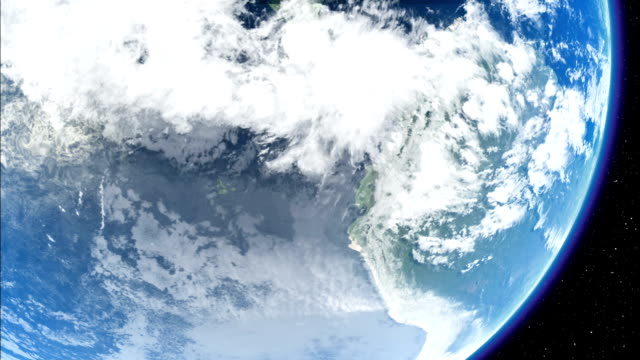 Clouds drifting over the Pacific Ocean are seen from outer space. Available in HD.