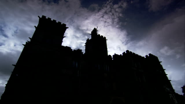 Clouds float above the silhouette of Carlton Towers. Available in HD.