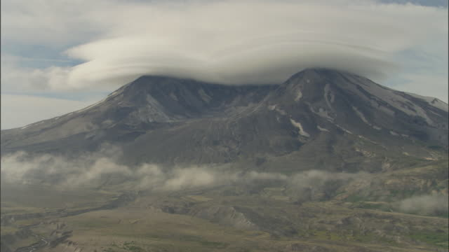 clouds float over the caldera at mount saint helens. - emergencies and disasters stock videos & royalty-free footage
