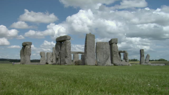 ws clouds floating above stonehenge / wiltshire, england - stonehenge stock videos and b-roll footage