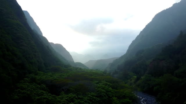 マウイ島の 2 つの山の間の谷を流れる雲 - 谷点の映像素材/bロール