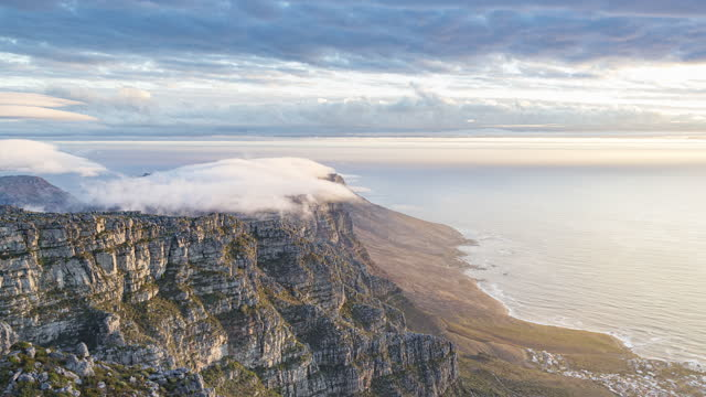 clouds form on table mountain / cape town, south africa - condensation stock videos & royalty-free footage
