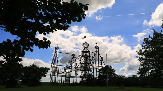 """clouds form over the steel replica of the """"uniastate"""" designed by artist bep mulder on july 12, 2020 in bears, the netherlands. the monument, located... - illusion stock videos & royalty-free footage"""