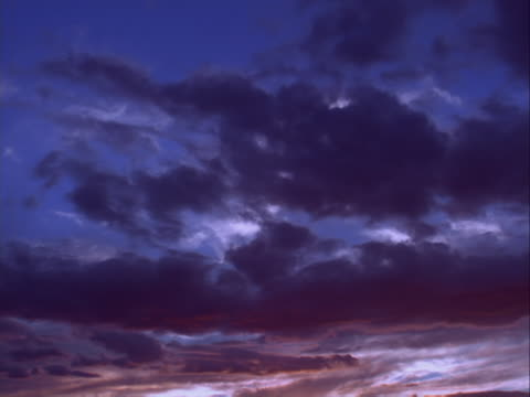 Clouds from sunset to night, fiery colors