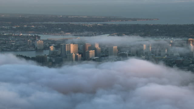 Clouds hang over the city of Oakland in California.