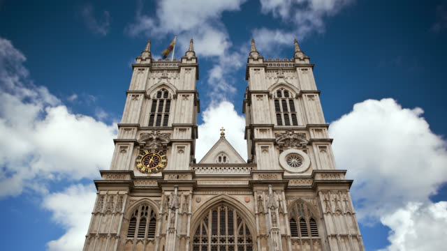 Clouds hang over Westminster Abbey in Westminster, England.