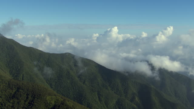 Clouds hover over the Blue Mountains in Jamaica.