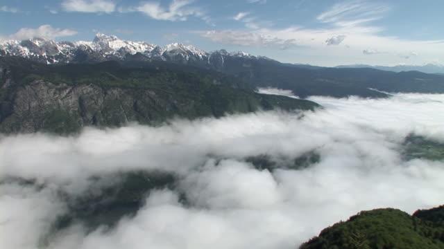 t/l, ws, ha, clouds hovering above lake bohinj, triglav national park, gorenjska region, slovenia - triglav national park stock videos and b-roll footage