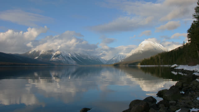 TIME LAPSE WIDE SHOT clouds in blue sky over Lake McDonald and snowy Rocky Mountains in background from day to sunset, Glacier National Park, Montana