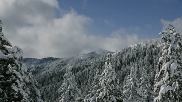 TIME LAPSE LONG WIDE SHOT clouds in blue sky over snowy tree-covered mountainside and peak of Mount Ashland, Oregon