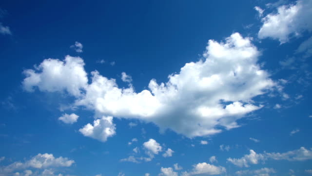clouds in blue sky time-lapse - cumulus cloud stock videos & royalty-free footage