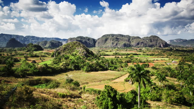 tl, ws clouds move across vinales valley / vinales, cuba - cuba stock videos and b-roll footage