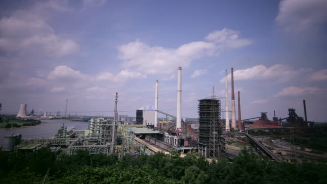 Clouds move over a steelworks in Germany.
