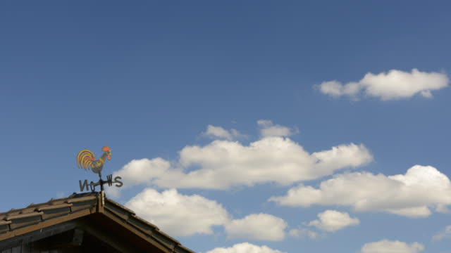 TL / Clouds moving on sky over weather vane
