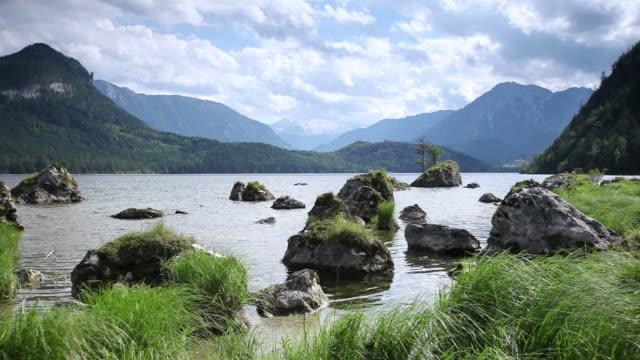 ws clouds moving over altausseer see lake / altaussee, salzkammergut region, styria, austria - salzkammergut stock videos and b-roll footage