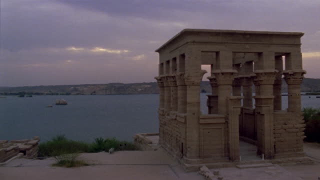 WS TL Clouds moving over Hypostyle Hall at Temple of Philae/ Egypt