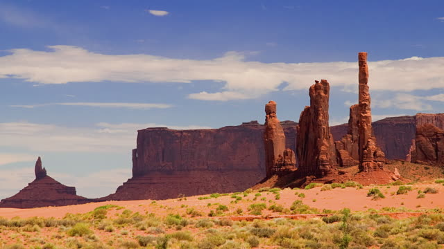 ws t/l clouds moving over mesas in landscape / monument valley, utah, usa - 砂岩点の映像素材/bロール