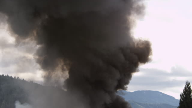 Clouds of thick black smoke rise above a burning structure