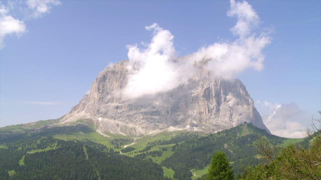 clouds on langkofel mountain time lapse - langkofel stock videos & royalty-free footage