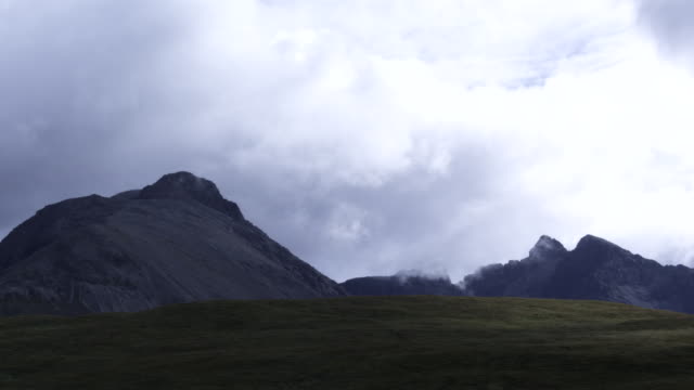 Clouds over Black Cuillin mountains, Scotland. Timelapse shot.