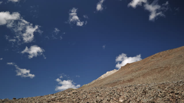 tl clouds over scree slope, canada - inquadratura fissa video stock e b–roll