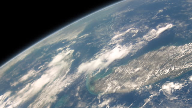 Clouds over sea and islands as if viewed from space