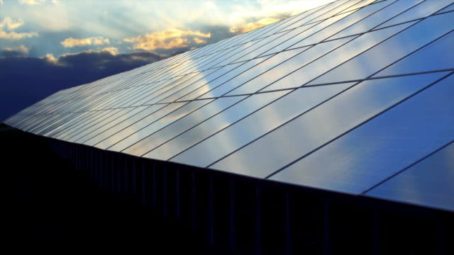 vídeos de stock e filmes b-roll de clouds over solar power station cinemagraph - sustainable resources