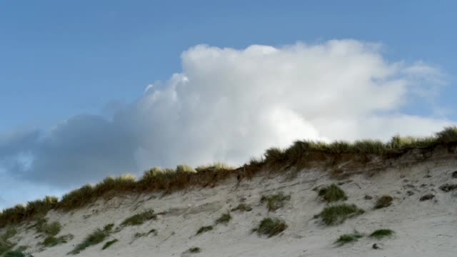 clouds over the dunes-keremma - オオハマガヤ属点の映像素材/bロール