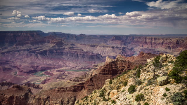 clouds over the grand canyon - time lapse - rock strata stock videos & royalty-free footage