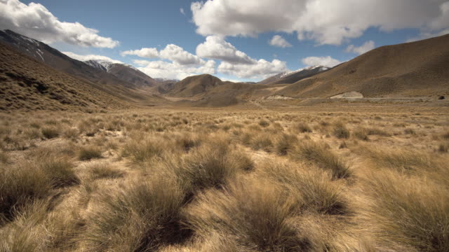 t/l ws clouds over tussock covered barren landscape / lindis pass, canterbury, new zealand - カンタベリー点の映像素材/bロール
