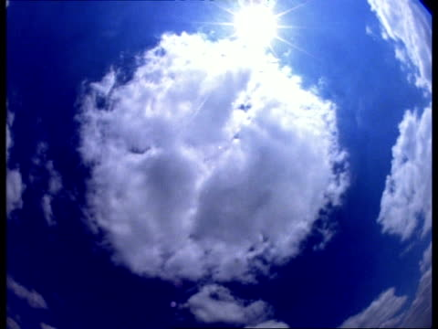 t/l clouds pass in front of sun, camera rotates, fish eye lens - fish eye lens stock videos & royalty-free footage