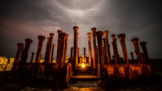 clouds pass over medirigiriya vadatage at night, sri lanka. - sri lankan culture stock videos & royalty-free footage