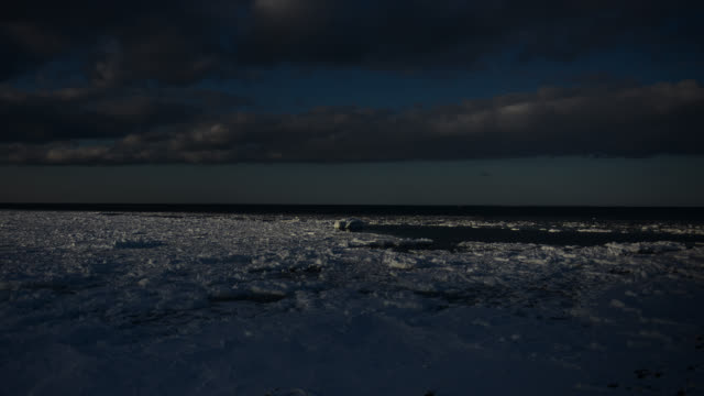 clouds pass over thawing sea ice. - ice floe stock videos & royalty-free footage