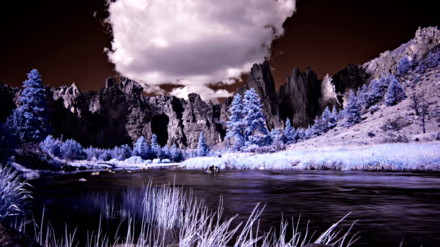 clouds pass over the crooked river at smith rock state park, oregon - oregon us state stock videos & royalty-free footage