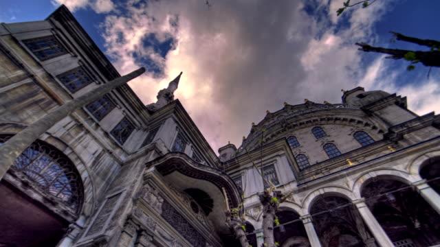 Clouds passing over Nusretiye Mosque in Istanbul Turkey