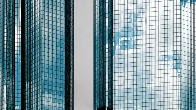 clouds reflected in mirrored office windows - viewpoint stock videos & royalty-free footage