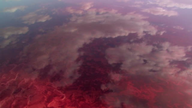AERIAL, Clouds reflecting in Lake Natron, Tanzania
