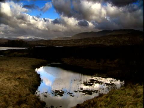 Clouds roll over dark Scottish landscapes
